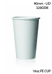 16 oz. White Poly Paper Hot Cup - 1000/Case